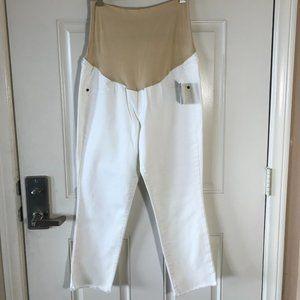 NWT A:Glow Maternity Denim Capri Jeans White